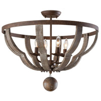 Regina Andrew 16-1166 Wooden 4 Light 24 inch Distressed Painted Semi Flush Mount Ceiling Light Quatrefoil