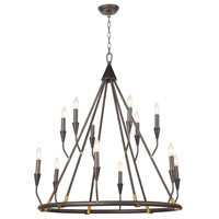 Regina Andrew 16-1212 Coastal Living Sierra 12 Light 36 inch Blackened Steel Chandelier Ceiling Light