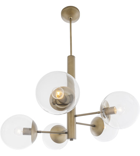 rogue decor company 612710 mid century 5 light 28 inch antique brass