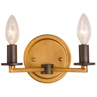 Rogue Decor Company 610410 Elwood 2 Light 9 inch Antique Gold with Rustic Bronze Bath Vanity Wall Light