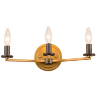 Rogue Decor Company 610420 Elwood 3 Light 16 inch Antique Gold with Rustic Bronze Bath Vanity Wall Light