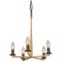 Rogue Decor Company 610440 Elwood 5 Light 14 inch Antique Gold with Rustic Bronze Chandelier Ceiling Light
