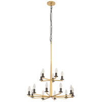Elwood 15 Light 24 inch Antique Gold with Rustic Bronze Chandelier Ceiling Light
