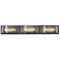 Firefly LED 33 inch Warm Bronze Vanity Wall Light, Micro-Texture Glass