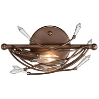 Rogue Decor Company 611500 Offshoot 1 Light 12 inch Bronze Vanity Wall Light Premium Pre-Installed Crystal