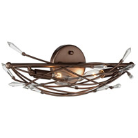 Offshoot 2 Light 20 inch Bronze Vanity Wall Light, Premium Pre-Installed Crystal