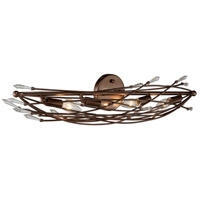 Rogue Decor Company 611530 Offshoot 4 Light 31 inch Bronze Vanity Wall Light Premium Pre-Installed Crystal