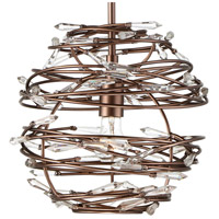 Offshoot 1 Light 12 inch Bronze Pendant Ceiling Light, Premium Pre-Installed Crystal