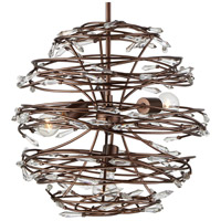 Offshoot 3 Light 18 inch Bronze Pendant Ceiling Light, Premium Pre-Installed Crystal