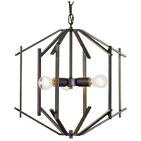 Offset 3 Light 18 inch Forged Iron Pendant Ceiling Light