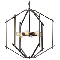 Offset 6 Light 24 inch Forged Iron Pendant Ceiling Light