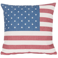 Rogue Decor Company 18 inch Red and White and Blue Throw Pillow Case