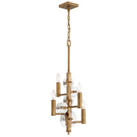 Rogue Decor Company 612220 Engeared 4 Light 12 inch Antiqued Gold Leaf Chandelier Ceiling Light