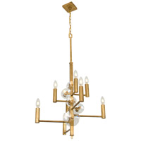 Engeared 8 Light 22 inch Antiqued Gold Leaf Chandelier Ceiling Light