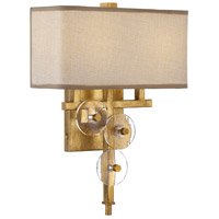 Engeared 2 Light 12 inch Antiqued Gold Leaf Wall Sconce Wall Light