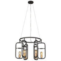 Loophole 6 Light 26 inch Rustic Bronze and Gold Pendant Ceiling Light
