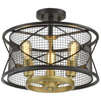 Harlequin 3 Light 15 inch Warm Bronze and Gold Semi-Flush Mount Ceiling Light