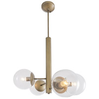 Mid-Century 4 Light 28 inch Antique Brass Chandelier Ceiling Light