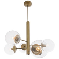 Mid-Century 6 Light 33 inch Antique Brass Chandelier Ceiling Light