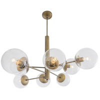Mid-Century 8 Light 39 inch Antique Brass Chandelier Ceiling Light