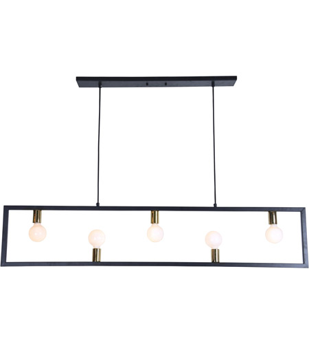 Renwil Lpc4067 Vera 5 Light 55 Inch Matte Black And Polished Br Linear Pendant Ceiling