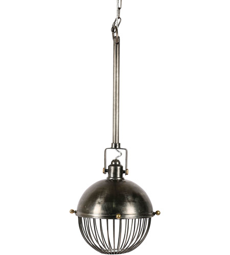 Renwil LPC4272 Lufra 1 Light 13 inch Grey and Antique Brass Pendant Ceiling Light, Small photo thumbnail