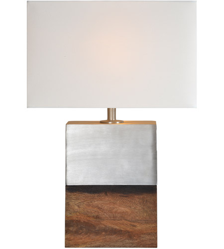 Renwil LPT817 Shine 25 Inch 100 Watt Sesham Wood And Brushed Nickel Table  Lamp Portable Light