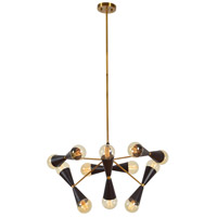 Twinning 12 Light 30 inch Matte Black and Polished Brass Pendant Ceiling Light