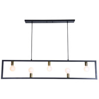 Vera 5 Light 55 inch Matte Black and Polished Brass Linear Pendant Ceiling Light