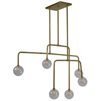 Tree 6 Light 45 inch Polished Brass Pendant Ceiling Light
