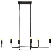 Florence 6 Light 40 inch Graphite Bronze Linear Pendant Ceiling Light