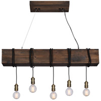 Renwil LPC4229 Kidarce 5 Light 47 inch Natural Linear Pendant Ceiling Light, Medium