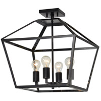 Renwil LPC4239 Aster 4 Light 19 inch Black and Gold Accents Semi Flush Mount Ceiling Light Medium