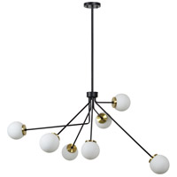 Fintona 7 Light 46 inch Matte Black and Antique Brass Chandelier Ceiling Light, Small