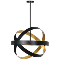 Natalia 4 Light 24 inch Matte Black and Antique Gold Chandelier Ceiling Light, Small