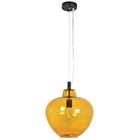 Renwil LPC4259 Opera 1 Light 15 inch Oil Rubbed Bronze and Amber Glass Pendant Ceiling Light Small