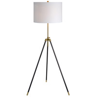 Mewitt 64 inch 100 watt Antique Brass and Black Floor Lamp Portable Light, Medium