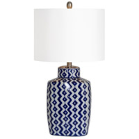 Beryl 14 inch 100 watt Blue and White with Satin Nickel Table Lamp Portable Light