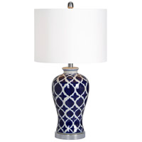 Indigo 14 inch 100 watt Blue and White with Chrome Table Lamp Portable Light