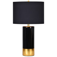 The Tuxedo 29 inch 100 watt Black and Gold Table Lamp Portable Light