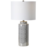 Camden 25 inch 100 watt Silver and White Table Lamp Portable Light