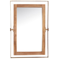 Crescent 36 X 24 inch Brass Plated and Natural Wood Mirror Home Decor