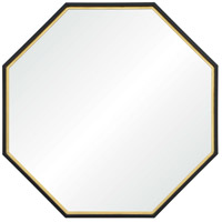 Renwil MT2085 Octo 45 X 45 inch Black Painted and Gold Leaf Wall Mirror, Large Octagon
