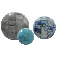 Sapphire Aqua and Royal Blue with Grey Statue, Set of 3