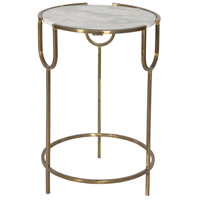 Renwil TA094 Whitesilk 18 inch Antique Gold Accent Table Home Decor