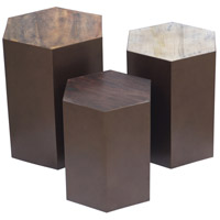 Giants Causeway 17 inch White and Medium Brown and Dark Brown with Bronze Accent Table Home Decor