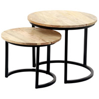 Kindred 21 inch Natural with Black Powder Coated Accent Table Home Decor, Set of 2