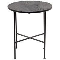 Reynolds 16 inch Mattee Black with Grey Powder Coated Accent Table Home Decor