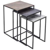 Threefold 24 inch Bronze and Raw Nickel and Matte Black Accent Table Home Decor, Set of 3