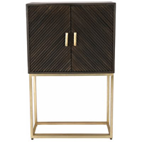 Flore Grey and Antique Brass Cabinet, Large